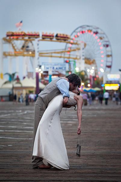 Los Angeles Orange County Doentary Wedding Photographer John Plus Chelsea Photography 314 607 5484 Santa Monica Pier Eamon Emily